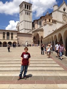 In front of the Basilica San Francesco where St. Francis of Assisi is buried.  He is my favorite saint because he is the patron of animals.
