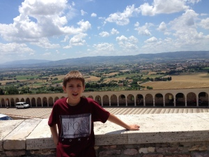 The view below Assisi from the parapet on San Francesco Piazza