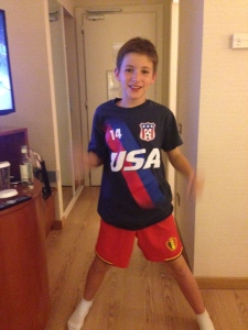 For the Belgian v. USA game I wore my Red Devil uniform shorts and my USA shirt.