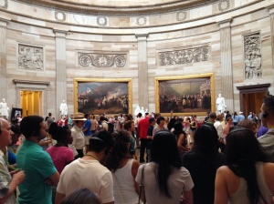 Inside the Capitol Rotunda.  Lots of different tour groups.