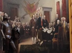 This painting depicts the moment on June 28, 1776, when the first draft of the Declaration of Independence was presented to the Second Continental Congress. This is the first completed painting of four Revolutionary-era scenes that the U.S. Congress commissioned from John Trumbull (1756–1843) in 1817.