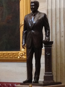 In the Capitol Rotunda there is this statute of President Ronald Reagan.